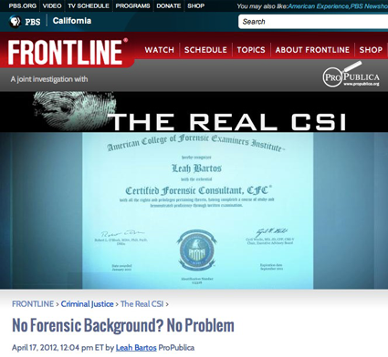 article_frontline_the_real_csi no forensic background? no problem